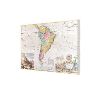 Karta av South America 3 Canvastryck