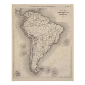 Karta av South America 3 Poster