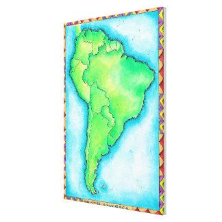 Karta av South America Canvastryck