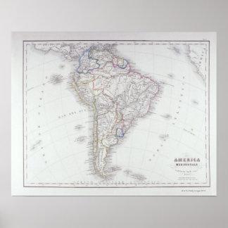 Karta av South America Poster
