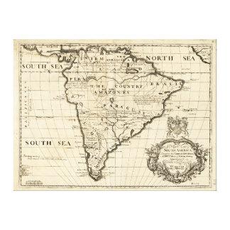 Karta av South America vid den Benjamin colen Canvastryck
