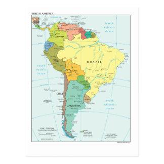 Karta av South America Vykort