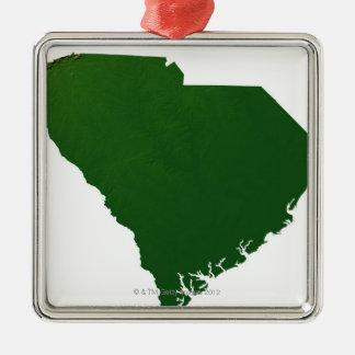 Karta av South Carolina Julgransprydnad Metall