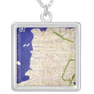 Karta av Spanien och Portugal, från 'Geographia Silverpläterat Halsband