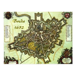Karta av staden av Breda, från 1652 Vykort