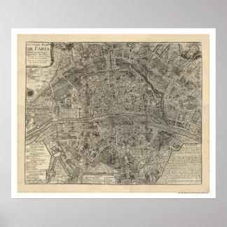 Karta av staden av Paris av Nicolas de Fer 1700 Poster