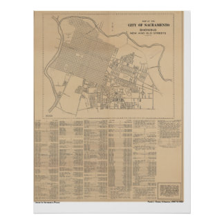 Karta av staden av Sacramento, 1916 Poster