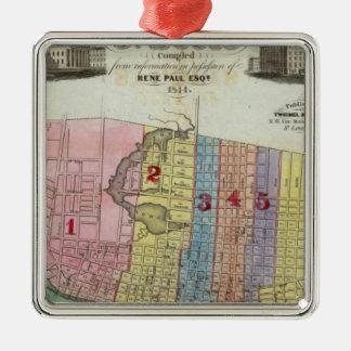 Karta av staden av St Louis Julgransprydnad Metall