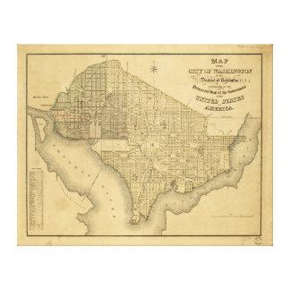 Karta av staden av Washington D.C. (1839) Canvastryck