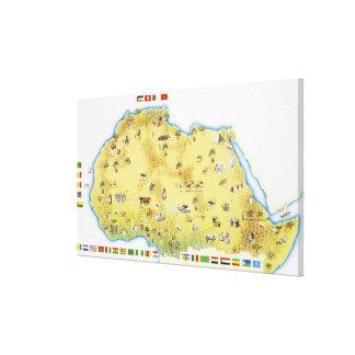 Karta av Sydafrika Canvastryck