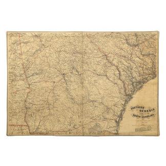 Karta av sydliga Georgia och del av South Carolina Bordstablett