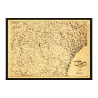 Karta av sydliga Georgia och del av South Carolina Canvastryck
