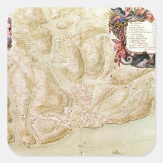 Karta av townen och citadelen av Bellisle Fyrkantigt Klistermärke