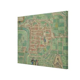 """Karta av Trento, från """"Civitates Orbis Terrarum"""" b Canvastryck"""