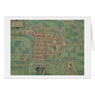"""Karta av Trento, från """"Civitates Orbis Terrarum"""" b Hälsningskort"""