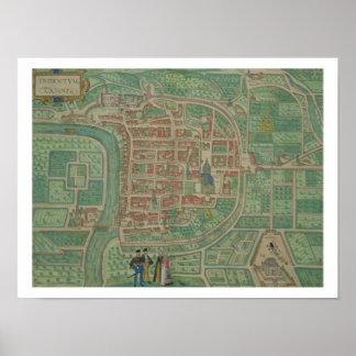 """Karta av Trento, från """"Civitates Orbis Terrarum"""" b Poster"""