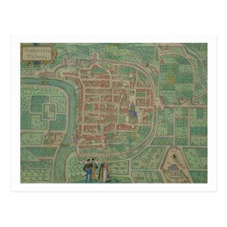"""Karta av Trento, från """"Civitates Orbis Terrarum"""" Vykort"""