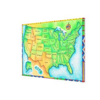 Karta av USA Canvastryck