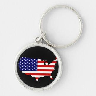 Karta av USA med stars och stripes Rund Silverfärgad Nyckelring