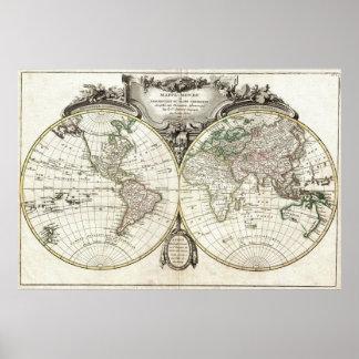 Karta av världen av Jean Janvier, 1775 Poster