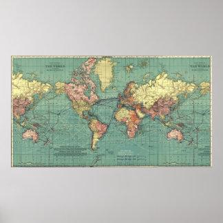 Karta av världen i 1919-1921 poster