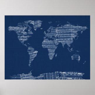 Karta av världskartan från gammal notblad poster
