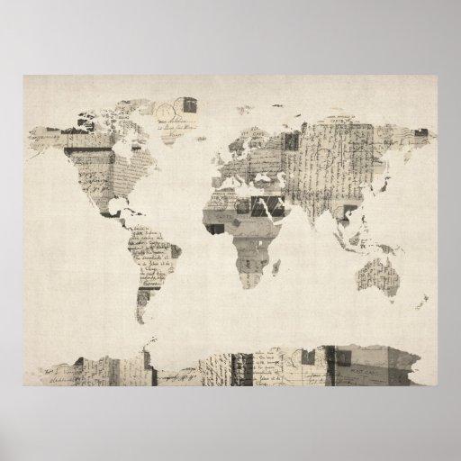 Karta av världskartan från gammala vykort affisch