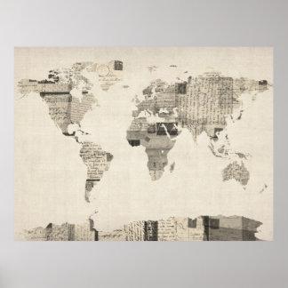 Karta av världskartan från gammala vykort poster
