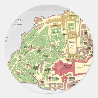 Karta av Vatican City Runt Klistermärke