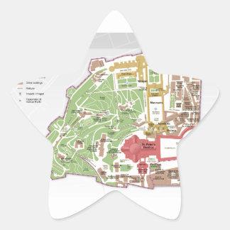 Karta av Vatican City Stjärnformat Klistermärke