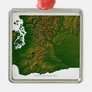 Karta av Washington 3 Julgransprydnad Metall