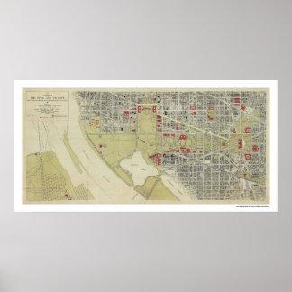Karta av Washington DC och mallen 1917 Poster