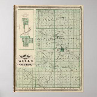 Karta av Wells County med Ossian, brunnar Co Poster