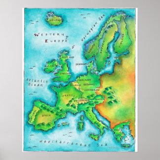Karta av westerna Europa Print