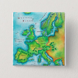Karta av westerna Europa Standard Kanpp Fyrkantig 5.1 Cm