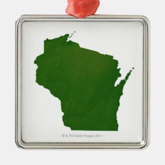 Karta av Wisconsin Julgransprydnad Metall