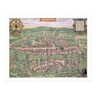 """Karta av Zurich, från """"Civitates Orbis Terrarum"""" Vykort"""