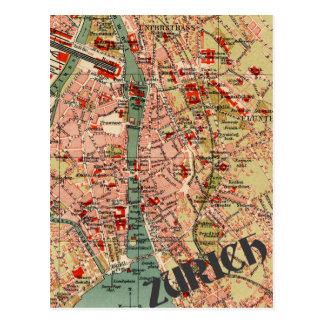 Karta av Zurich Vykort