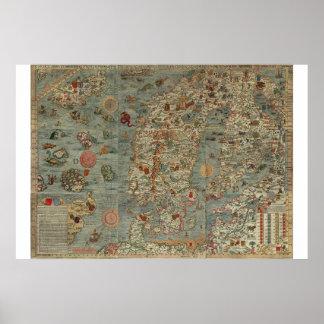 """Karta """"Carta Marina """" för gammal värld, Poster"""