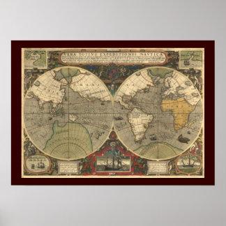 Karta för gammal värld affisch