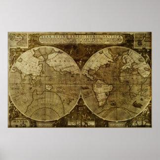 Karta för gammal värld för vintage affisch