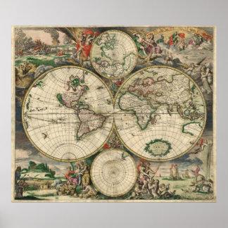 Karta för gammal värld för vintage antik poster