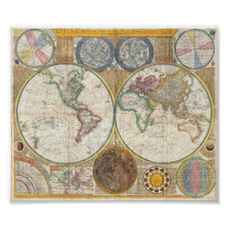 karta för gammal värld för vintage poster
