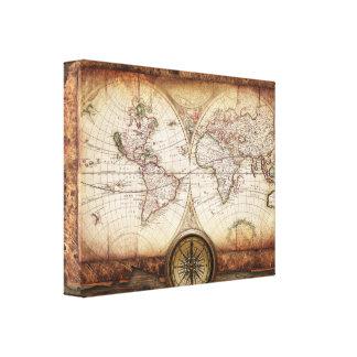 Karta för gammal värld och kompass slågen in canvastryck