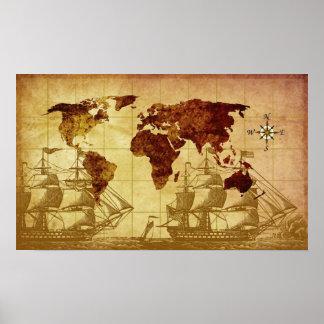 Karta för gammal värld poster