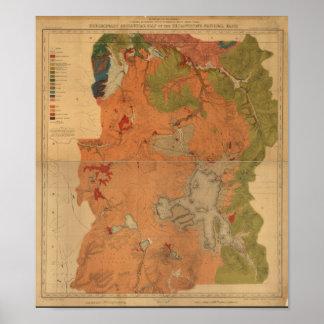 Karta för Geologic granskning för Yellowstone Poster