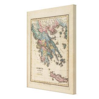 Karta för Grekland full färgkartbok Canvastryck