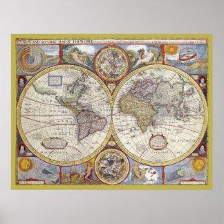 Karta för härlig värld för antikvitet och för poster