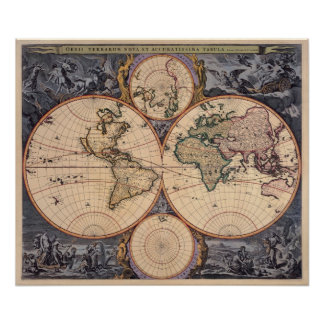 Karta för karta för gammal värld antik för affisch poster