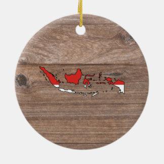 Karta för lagindonesia flagga på trä julgransprydnad keramik
